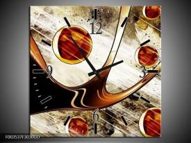 Wandklok op Glas Abstract | Kleur: Geel, Bruin, Wit | F003537CGD