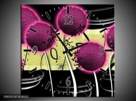 Wandklok op Glas Bloem | Kleur: Roze, Geel, Wit | F003553CGD