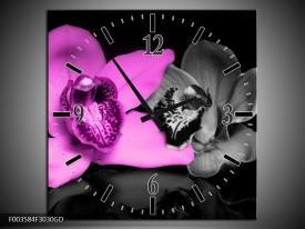 Wandklok op Glas Orchidee | Kleur: Paars, Grijs, Zwart | F003584CGD