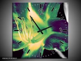 Wandklok op Glas Bloem   Kleur: Zwart, Groen, Grijs   F003617CGD