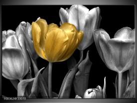 Glas schilderij Tulp | Goud, Zilver, Grijs