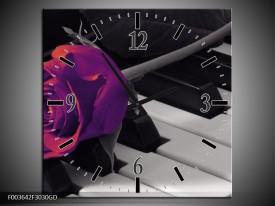 Wandklok op Glas Roos   Kleur: Paars, Zwart, Wit   F003642CGD