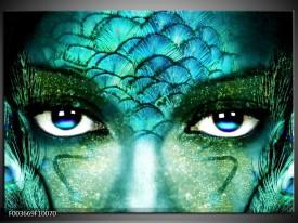 Foto canvas schilderij Gezicht | Blauw, Wit, Zwart