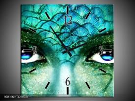 Wandklok op Glas Gezicht | Kleur: Blauw, Wit, Zwart | F003669CGD