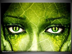Foto canvas schilderij Gezicht | Groen, Wit, Zwart