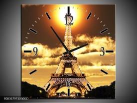 Wandklok op Glas Eiffeltoren   Kleur: Geel, Goud, Zwart   F003679CGD