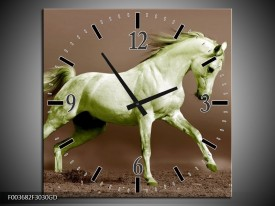 Wandklok op Glas Paard | Kleur: Bruin, Groen | F003682CGD