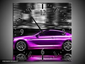 Wandklok op Glas Auto   Kleur: Paars, Zwart   F003683CGD