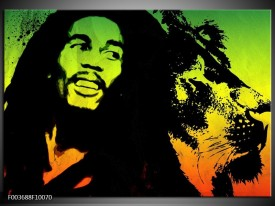 Foto canvas schilderij Man   Groen, Zwart, Oranje