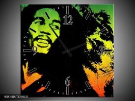 Wandklok op Glas Man | Kleur: Groen, Zwart, Oranje | F003688CGD