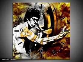 Wandklok op Glas Sport | Kleur: Geel, Grijs, Zwart | F003697CGD