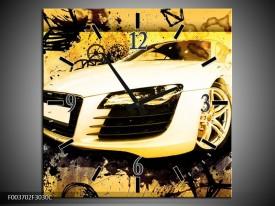 Wandklok op Canvas Audi | Kleur: Geel, Zwart, Wit | F003702C