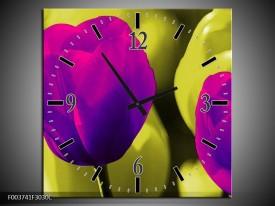 Wandklok op Canvas Tulp | Kleur: Paars, Groen, Wit | F003741C
