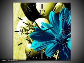 Wandklok op Glas Bloem   Kleur: Blauw, Zwart, Groen   F003748CGD