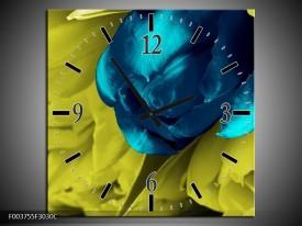 Wandklok op Canvas Tulp   Kleur: Blauw, Zwart, Groen   F003755C