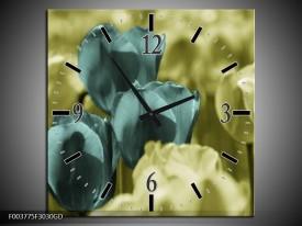 Wandklok op Glas Tulp   Kleur: Blauw, Zwart, Groen   F003775CGD