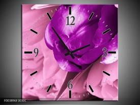 Wandklok op Canvas Tulp | Kleur: Paars, Wit, Zwart | F003896C