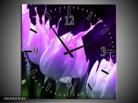 Wandklok op Canvas Tulp | Kleur: Paars, Zwart, Roze | F003943C