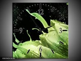 Wandklok op Canvas Tulp | Kleur: Groen, Zwart | F003945C