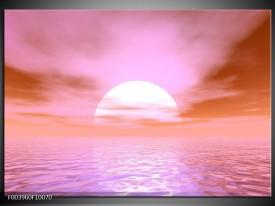 Glas schilderij Zonsondergang | Roze, Wit,