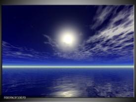 Foto canvas schilderij Zee | Blauw, Wit