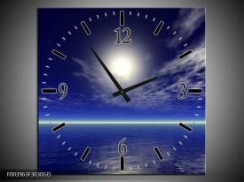 Wandklok op Glas Zee | Kleur: Blauw, Wit | F003963CGD