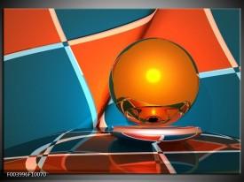 Glas schilderij Abstract | Oranje, Blauw, Grijs