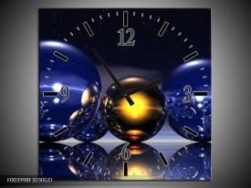Wandklok op Glas Abstract | Kleur: Blauw, Geel, Zwart | F003998CGD