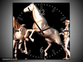 Wandklok op Glas Paard | Kleur: Goud, Zwart, Zilver | F004009CGD