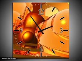 Wandklok op Glas Abstract | Kleur: Geel, Goud, Oranje | F004010CGD