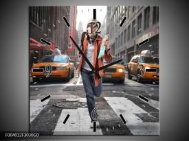 Wandklok op Glas Straat | Kleur: Geel, Oranje, Grijs | F004012CGD