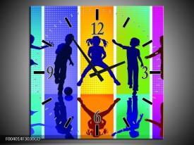 Wandklok op Glas Springen | Kleur: Blauw, Geel, Groen | F004014CGD