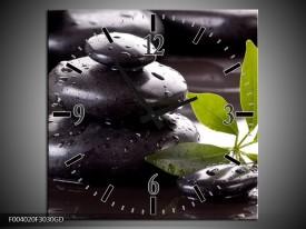 Wandklok op Glas Stenen | Kleur: Zwart, Groen, Wit | F004020CGD