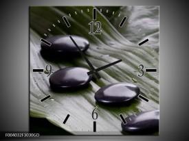 Wandklok op Glas Stenen   Kleur: Zwart, Wit, Grijs   F004032CGD
