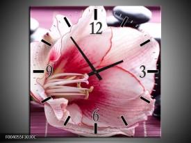 Wandklok op Canvas Bloem   Kleur: Wit, Roze, Groen   F004055C