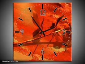 Wandklok op Glas Roos   Kleur: Oranje, Rood, Geel   F004061CGD