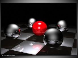 Foto canvas schilderij Ball | Rood, Zwart, Grijs