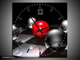 Wandklok op Canvas Ball | Kleur: Rood, Zwart, Grijs | F004089C
