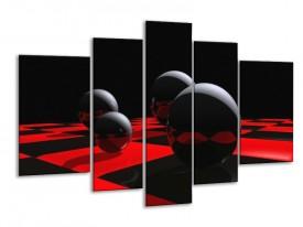 Glas schilderij Cirkel | Rood, Zwart, Wit | 170x100cm 5Luik