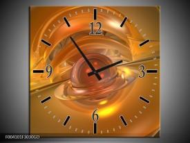 Wandklok op Glas Abstract   Kleur: Geel, Goud   F004101CGD
