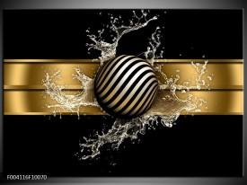 Glas schilderij Abstract | Goud, Zwart, Wit