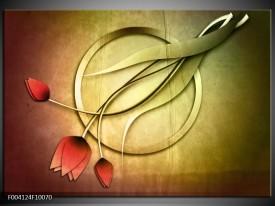 Foto canvas schilderij Tulp | Groen, Rood, Geel