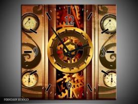 Wandklok op Glas Klok | Kleur: Bruin, Rood, Geel | F004160CGD