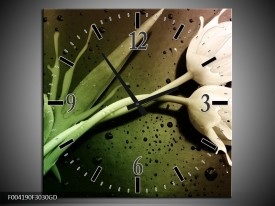 Wandklok op Glas Tulp | Kleur: Groen, Wit | F004190CGD