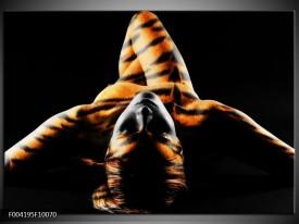 Glas schilderij Abstract | Oranje, Zwart, Geel