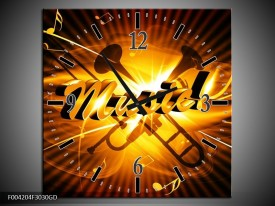 Wandklok op Glas Muziek | Kleur: Goud, Geel, Zwart | F004204CGD