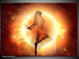 Glas schilderij Dansen | Geel, Oranje, Rood