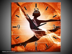Wandklok op Glas Dansen | Kleur: Oranje, Rood, Bruin | F004226CGD