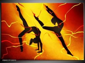 Foto canvas schilderij Dansen | Oranje, Rood, Geel