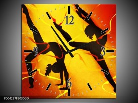 Wandklok op Glas Dansen | Kleur: Oranje, Rood, Geel | F004227CGD